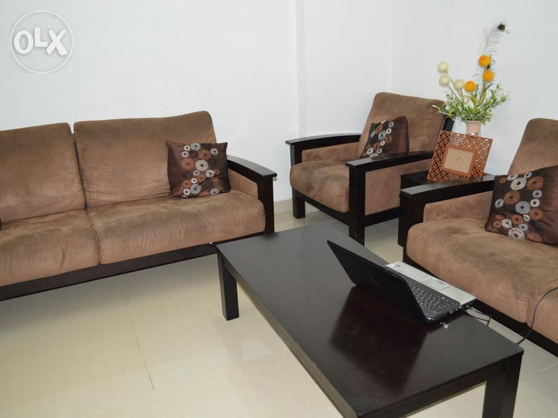 5 seater 3pcs wooden sofa set with wooden central table for Sofa central table